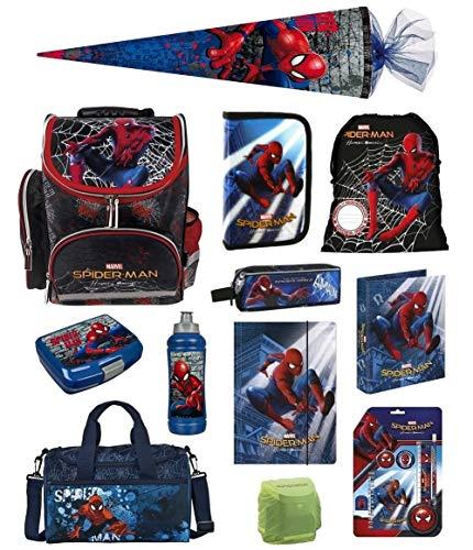 Familando Spiderman Schulranzen-Set 17tlg. mit Federmappe Dose/Flasche Sporttasche Schultüte 85cm Regenschutz