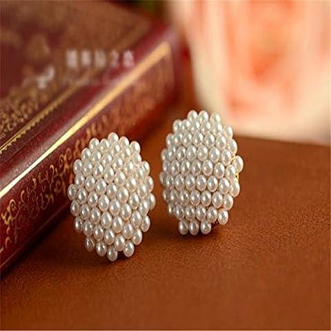 Pyrty (TM) 1 paio Womens Perle bianche orecchino di perla placcato oro Mushroom Ear Stud 27 luglio