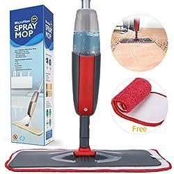 Balai lave sol avec Vaporisateur, Fixget Balai Vaporisateur 2 x chiffons en microfibre,pour les sols stratifiés et le carrelage,300ml