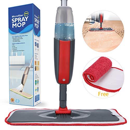 Fixget Spray Mop, Mikrofaser Boden Mop Wasser sprühen Reiniger Flat Mop mit 2 kostenlos Wiederverwendbare Pads mit nachfüllbaren Flasche für Marmor, Hartholz, Fliesen, Laminat oder Keramik Böden