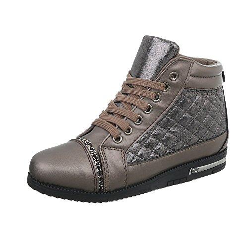 Ital-Design Scarpe da Donna Sneaker Piatto Sneakers High Bronze M-1K