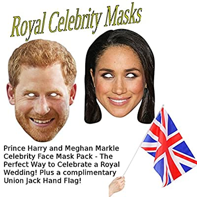 Prince Harry + Meghan Markle Royal Celebrity Face Mask Pack for Fancy Dress, Birthdays, Christmas, Weddings, Hen/Stag Dos