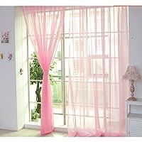 jianhui Cortinas Simple Cortina De Voile Panel/Ring Top Partida/Ojal Voile Voile Cortinas/Ready Made Pura Paneles Tieback Incluido Pink