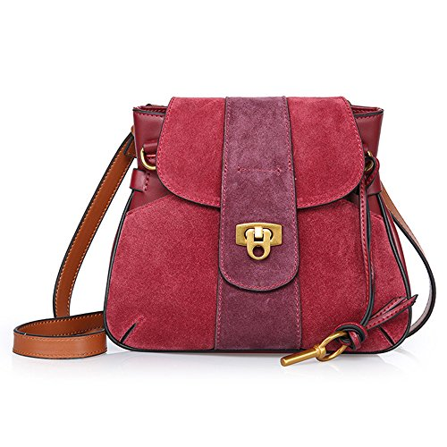 Sheli Nappe Semplice Moda Borsa di Massa Convertible Crossbody Purse Bag with Shoulder Strap Borgogna