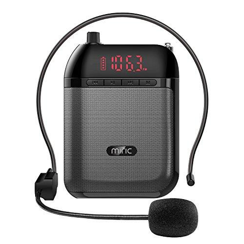Miric Ultraleicht Sprachverstärker Stimmverstärker Lautsprecherbox Verstärker Praktisches und Handliches Megaphonen mit Mikrofon-Headset Für Vorträge, ideal für Lehrer, Reiseleiter, Trainer, Präsentation, Verkaufsförderung, unterstützt MP3 / TF / FM-Radio