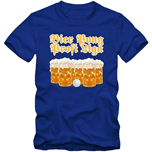 Oktoberfest Beer Pong T-Shirt |Herren | Wiesn | Bayern | Volksfest | Feiern | Spruch-Shirt |Bier | Maß | Trinkspiel © Shirt Happenz Blau (Royalblue L190)