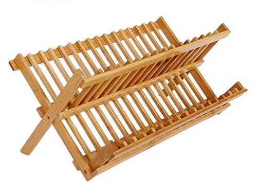 Namgiy - Escurreplatos de madera antideslizante, desmontable, 28 x 47 cm
