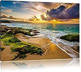 Sonnuntergang auf Hawaii, Format: 80x60 auf Leinwand, XXL riesige Bilder fertig gerahmt mit Keilrahmen, Kunstdruck auf Wandbild mit Rahmen, günstiger als Gemälde oder Ölbild, kein Poster oder Plakat