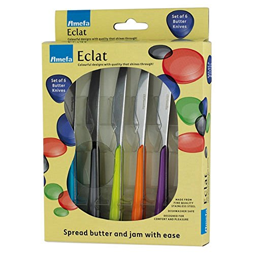 Amefa 2214MZWB24BB6 Eclat Accessories Primary Kaleidoscope Butter Knives Set, Stainless Steel, Multi-Colour, 20 x 14 x 2.6 cm