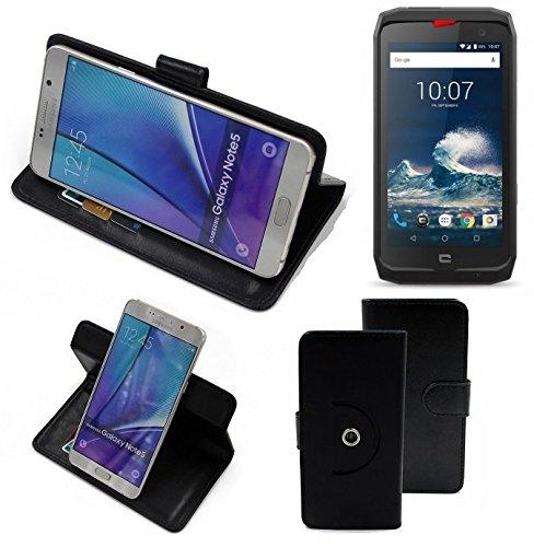 K-S-Trade® Case Schutz Hülle für Crosscall Action-X3 Handyhülle Flipcase Smartphone Cover Handy Schutz Tasche Bookstyle Walletcase schwarz (1x)