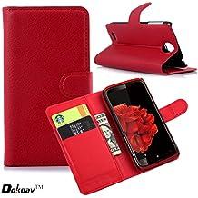 Lenovo S820 Funda, Dokpav® Ultra Slim Delgado Flip PU Cuero Cover Case para Lenovo S820 con Interiores Slip Compartimentos para Tarjetas - Rojo