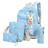 School Bags, SHOBDW 4 Sets Girls Cute Rabbit Animals Travel Backpack Shoulder Handbag (1 Set, Sky Blue)