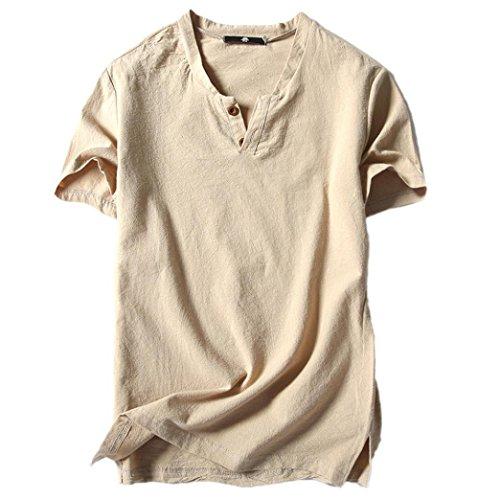 MEIbax Casual Langarm-Leinen Shirts Strand-Hemden V-Ausschnitt T-Shirt Kurzarm Button Kurzarm Leinenhemd Shirt Casual Sommer Herren Weste