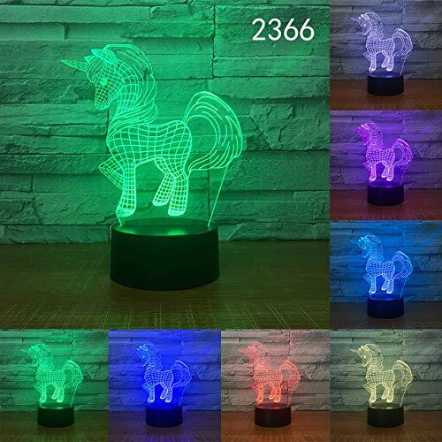 orangeww Unicorn Horse 3D Tisch Schreibtischlampe Xmas Home DecorationTouch Control/LED Nachtlicht/Schöne Geschenke Für Kinder Mädchen/Pferd shape-10/16 farbe mit fernbedienung