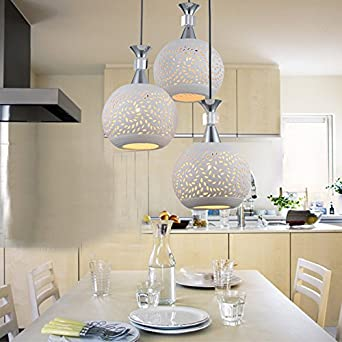 GQLB Einfache, Moderne LED Kreative Persönlichkeit Bar Restaurant Esszimmer  Lampen Leuchten Beleuchtung Keramik Lampenabdeckung Lampe Drei  Kronleuchtern + ...