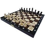 "10.5"" European School chess set - Ornate folding board"