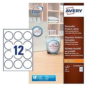 Avery L7104REV-20 Etichette per Prodotti Bianche Rimovibili, Rotonde, Diametro 60 mm, 20 ff, Bianco