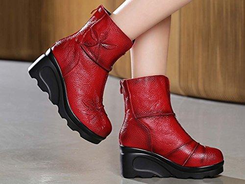 Folk-custom Spessore Inferiore Stivali Di Ascensore Pelle Tacco A Punta Con Tacco Martin Boots Fiori Retrò Mamma Caricamento Corto Red