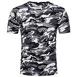Herren Kurze Shirt, Sunday Herren Mode Persönlichkeit Camouflage Männer Casual Schlank Kurzarm-Shirt Top Bluse Sporthose Yoga Kurzarm Shirt Tarnung Freizeit Shirt (XL, Grau)
