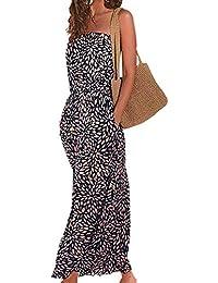Damen Bedrucktes Bandeau Maxikleid Trägerloses Strandkleid Casual Sommerkleid