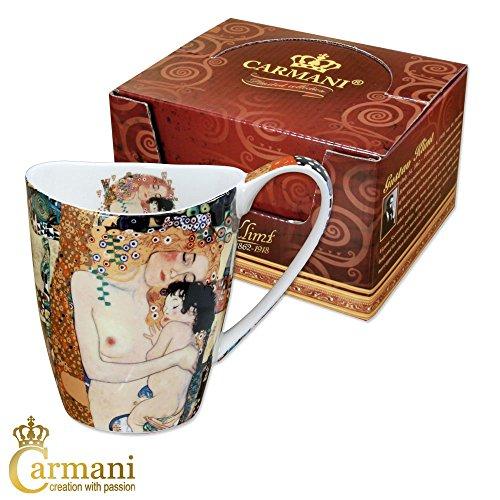 CARMANI - Porzellan-Becher mit \'Mutterschaft\' von Gustav Klimt dekoriert