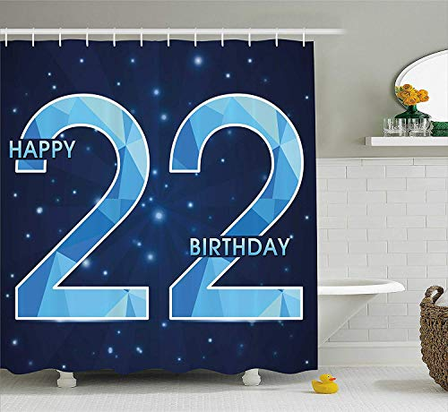 VVIANS 22nd Birthday Decorations Shower Curtain, Cute Cupcake with Candles Romantic Celebration Illustration, Fabric Bathroom Decor Set with Hooks, 60 * 72 Inch, Red Scarlet Blue