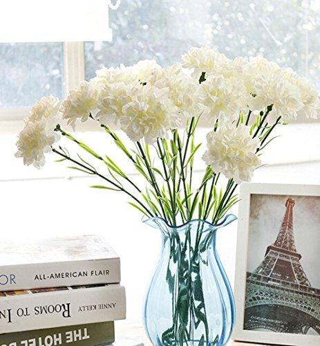 2-pcs-artificial-carnations-silk-flowers-bush-wedding-grave-vasewhite
