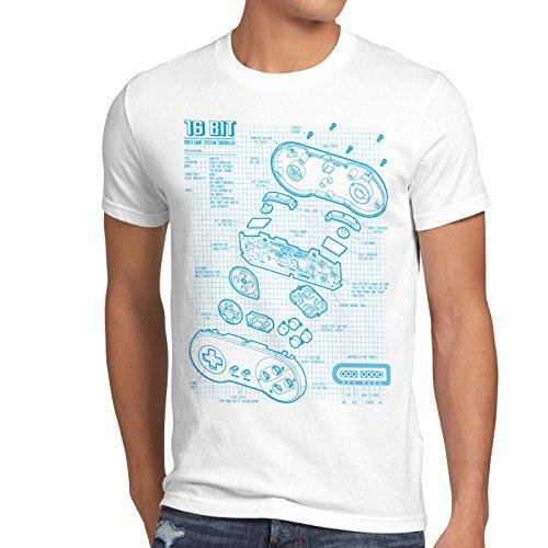 style3 SNES Controller Blaupause Herren T-Shirt 16-Bit Videospiel, Größe:XL, Farbe:Weiß (Nintendo-bekleidung Super)