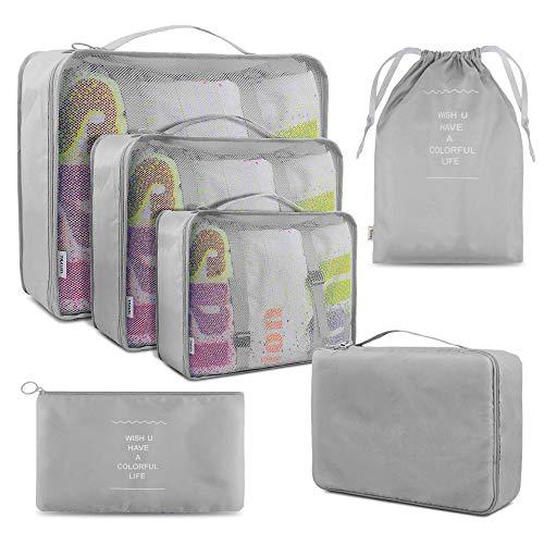 Koffer Organizer Reise Kleidertaschen, BROTOU 6 Stück Taschen Organiser für Kleidung, Schuhe, Unterwäsche, Kosmetik, Bücher, Süßigkeiten und andere Zubehör (Grau)