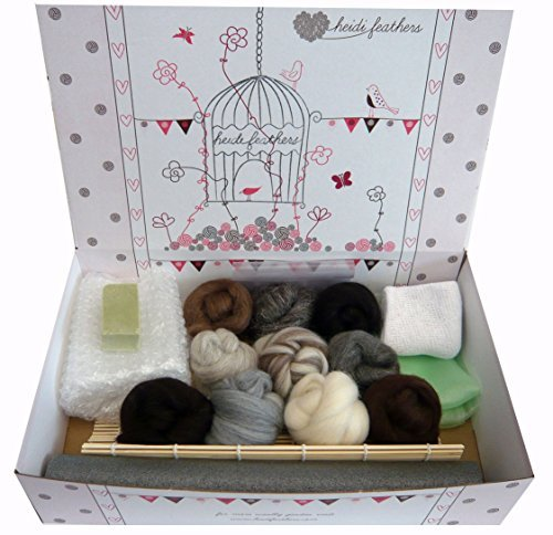 Heidifeathers® Boxed Wet Felting Kit - 100g Natural Wool, Bamboo Mat....