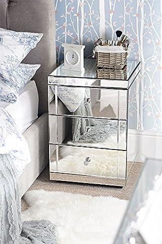 MY-Furniture - Lot de 2 tables de chevet miroir LUCIA, 3 tiroirs (gamme Chelsea)