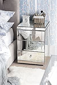 My-Furniture - 2 X Mirrored Furniture Bedside Table cabinet 3 Drawers-LUCIA-(Chelsea range)
