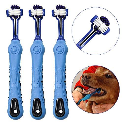 OneBarleycorn - 3 Stück Hundezahnbürste für Haustierzahnpflege, Dreifachkopf-Zahnbürste, ergonomischer Griff für einfache Mundpflege, perfekt für mittelgroße und große Hunde (Blau)