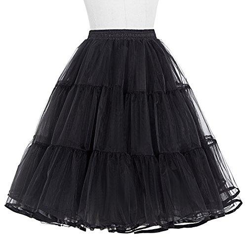 Belle Poque Femme Rockabilly Jupon sous Robe Crinoline Tutu Petticoat en Tulle Noir