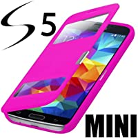 Flip Cover Tasche Samsung Galaxy S5 Mini SM-G800 Schutz Hülle Case Pink + mit Sichtfenster + Folie