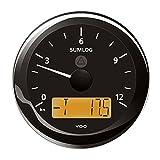 VDO ViewLine Sumlog Ø 85 mm mit Echolot 0 - 60 Knoten Frontring rund, Farbe:schwarz, Messbereich:0 - 60 Knoten