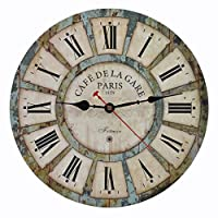 (36cm , Green) - Old Oak 36cm Decorative Wall Clock Vintage Silent Non-Ticking for Kitchen Living Room Bathroom Bedroom Wall Decor with Roman Numerals