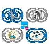 MAM Perfect Day & Perfect Night Schnuller 6-16 Boy II // 4er Set // inkl. 4 Sterilisiertrasportboxen
