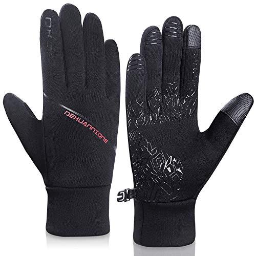 coskefy Fahrradhandschuhe Herren Damen Handschuhe Winter Touchscreen Laufhandschuhe Leichte Liner Handschuhe schwarz zum Wandern Reiten Motorrad Camping Outdoor Arbeit Weihnachten (Schwarz 2, M)
