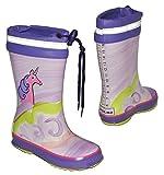 Gummistiefel - Einhorn / Pferd - mit Reflektor + zum Schnüren - Größe 33 - für Kinder / Mädchen - Naturkautschuk / Regenstiefel Handbemalt mit 3-D Effekt - Pferde Tiere lila pink Schnürung
