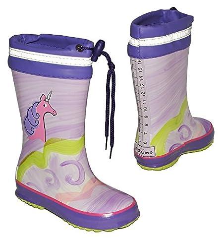 Gummistiefel - Einhorn / Pferd - mit Reflektor + zum Schnüren - Größe 26 - für Kinder / Mädchen - Naturkautschuk / Regenstiefel Handbemalt mit 3-D Effekt - Pferde Tiere lila pink Schnürung