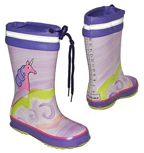 Unbekannt Gummistiefel - Einhorn/Pferd - mit Reflektor + zum Schnüren - Größe 33 - für Kinder/Mädchen - Naturkautschuk/Regenstiefel Handbemalt mit 3-D Effekt - Pferde Tiere lila pink Schnürung
