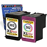 Alaskaprint 2x Cartucho de tinta Refilled HP 302XL 302 Trabajar Con HP DeskJet 1110 1115 2130 2132 2133 2134 2135 3630 3632 3633 3634 3635 3636 3637 3638 HP OfficeJet 3638 3800 3830 3831 3832 3833 3834 3835 4650 4651 4652 4654 4655 4657 4658 HP Envy 4520 4521 4522 4523 4525 4524 4526 4527 4528 HP Envy 4520 e-All-in-One 4524 e-All-in-One ,con nuevos Chips (1 Negro + 1 Colour)