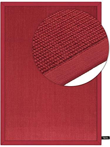 *benuta Sisal Teppich mit Bordüre Rot 120×180 cm | Naturfaserteppich für Flur und Wohnzimmer*