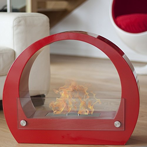 La Hacienda® Ovalis Bio Ethanol Burner Fire Stylish Fireplace with Glass - Clean Odourless Flame for Indoor and Outdoor (Red)