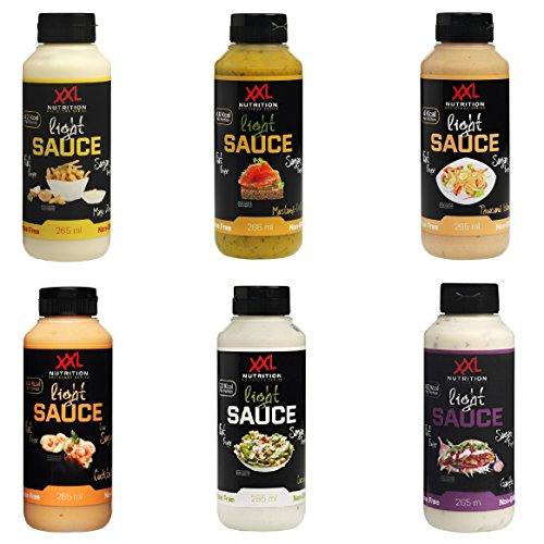 XXL Nutrition Light Sauce Salat Dressings Mix Box (6x265ml) - Kalorienarme Soßen mit echten Gemüse, Kräuter und Gewürze - Testpaket aus Senf-Dill, Mayo Zero, Garlic, 1000 Island, Caesar und Cocktail