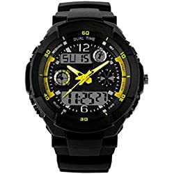 SKMEI Mens Sport Round Dial LED Analog Digital Wrist Watch,5 ATM Water Resistant -Yellow