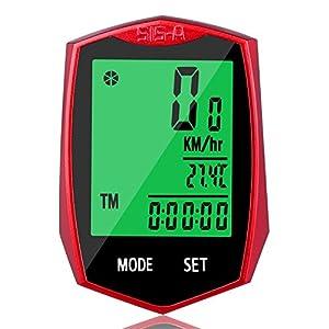 Soyion Cuentakilómetros Inalámbrico Impermeable para Bicicleta Velocímetro Ciclocomputador con LCD Retroiluminada (Rojo)