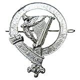 Tartanista Emblem für Glengarry/Balmoral Mütze - Rund - Irische Harfe - Chrom