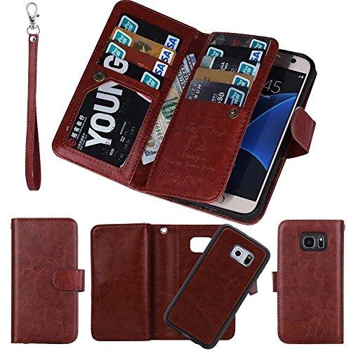 Custodia a portafoglio con porta carte di credito, marrone, For Samsung S7 edge